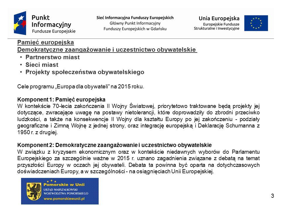 3 Pamięć europejska Demokratyczne zaangażowanie i uczestnictwo obywatelskie Partnerstwo miast Sieci miast Projekty społeczeństwa obywatelskiego Cele p