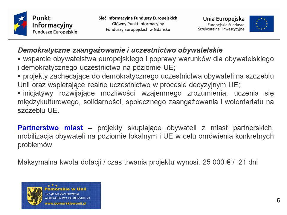 5 Demokratyczne zaangażowanie i uczestnictwo obywatelskie  wsparcie obywatelstwa europejskiego i poprawy warunków dla obywatelskiego i demokratyczneg