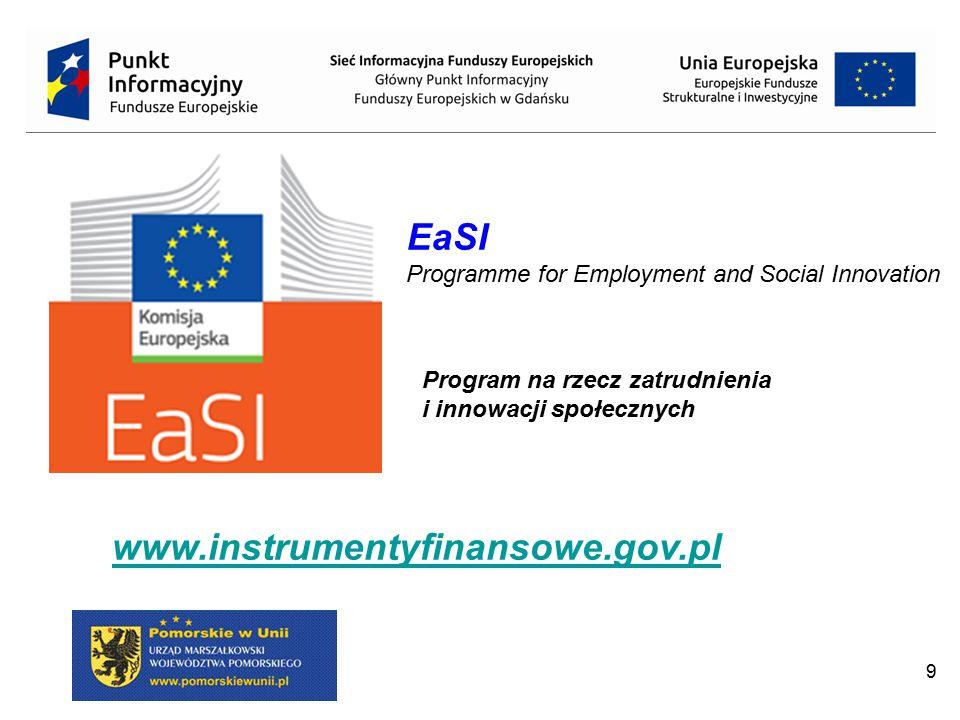 9 EaSI Programme for Employment and Social Innovation www.instrumentyfinansowe.gov.pl Program na rzecz zatrudnienia i innowacji społecznych
