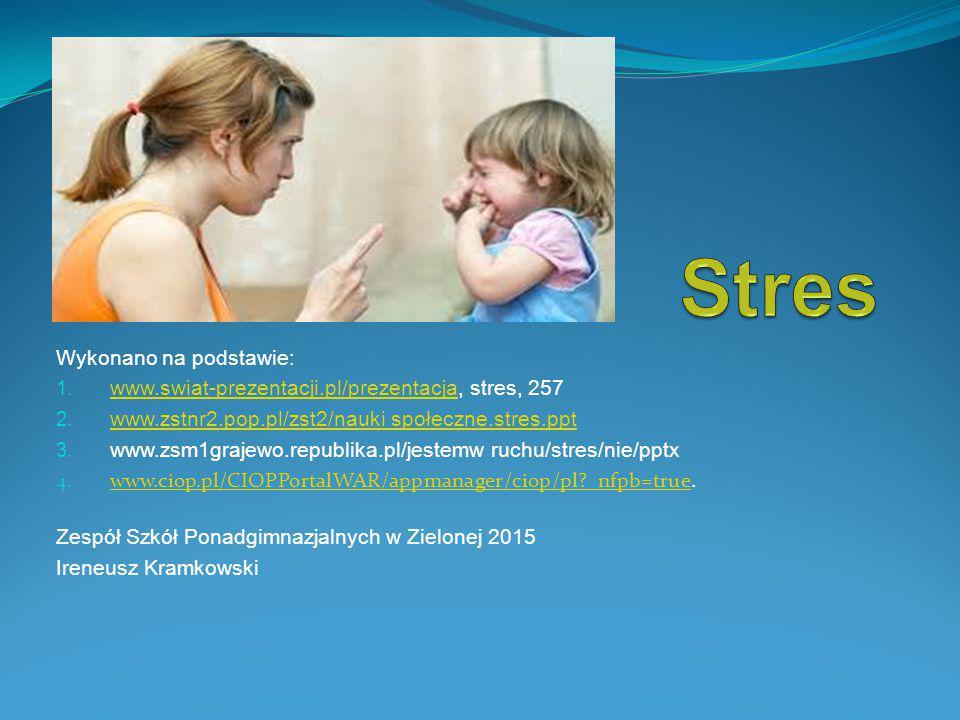 Wykonano na podstawie: 1. www.swiat-prezentacji.pl/prezentacja, stres, 257 www.swiat-prezentacji.pl/prezentacja 2. www.zstnr2.pop.pl/zst2/nauki społec