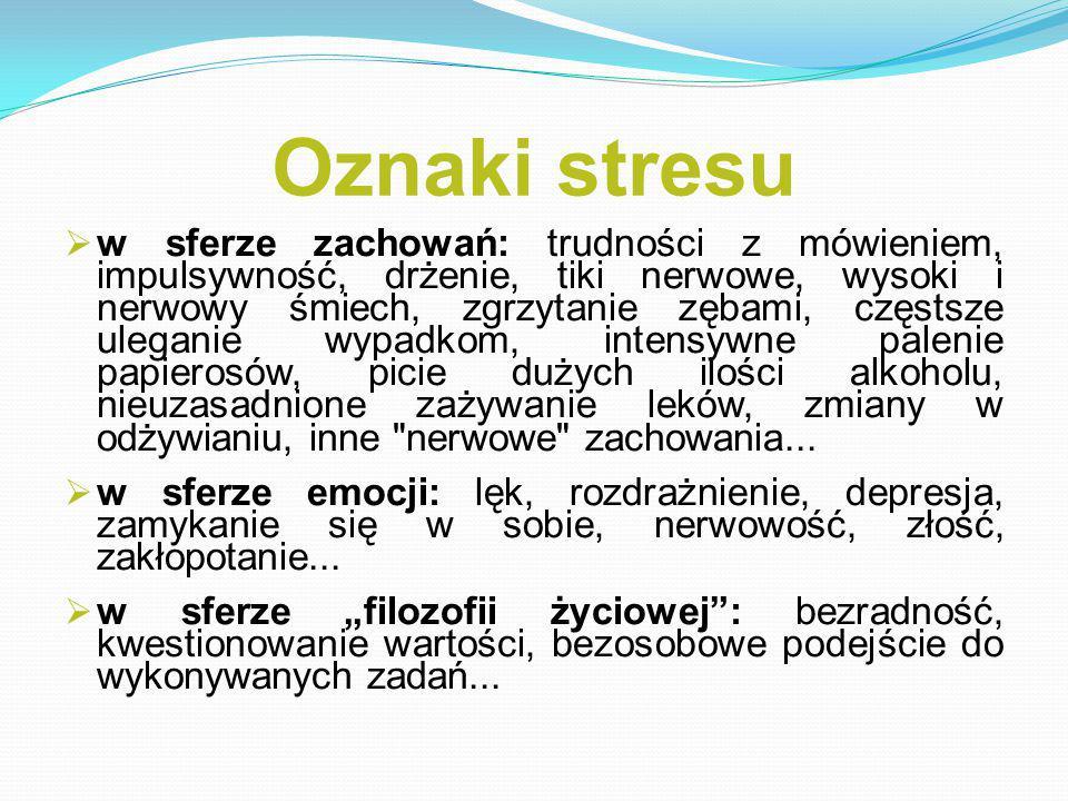 Oznaki stresu  w sferze zachowań: trudności z mówieniem, impulsywność, drżenie, tiki nerwowe, wysoki i nerwowy śmiech, zgrzytanie zębami, częstsze uleganie wypadkom, intensywne palenie papierosów, picie dużych ilości alkoholu, nieuzasadnione zażywanie leków, zmiany w odżywianiu, inne nerwowe zachowania...