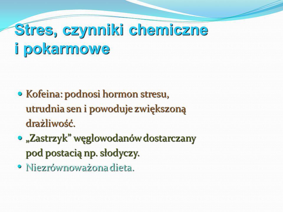 Stres, czynniki chemiczne i pokarmowe Kofeina: podnosi hormon stresu, Kofeina: podnosi hormon stresu, utrudnia sen i powoduje zwiększoną drażliwość.