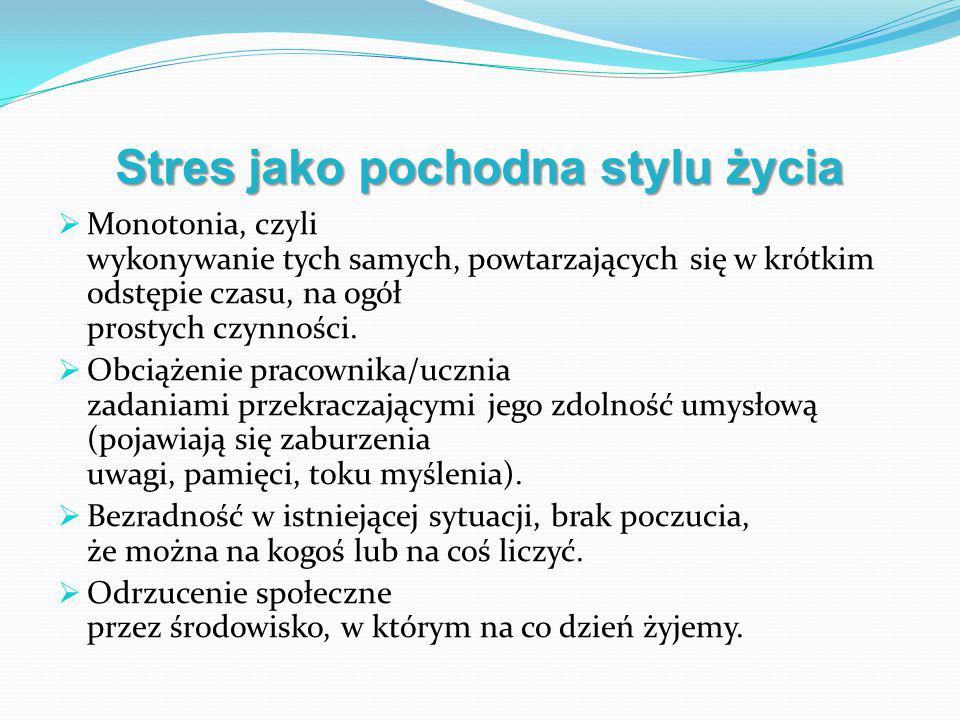 Stres jako pochodna stylu życia  Monotonia, czyli wykonywanie tych samych, powtarzających się w krótkim odstępie czasu, na ogół prostych czynności. 
