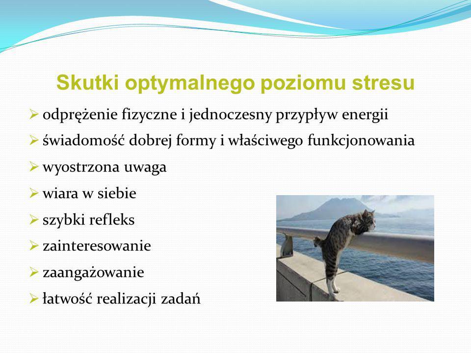 Skutki optymalnego poziomu stresu  odprężenie fizyczne i jednoczesny przypływ energii  świadomość dobrej formy i właściwego funkcjonowania  wyostrz