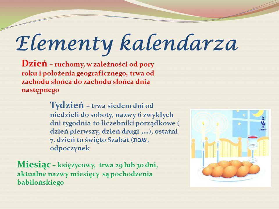 Elementy kalendarza Tydzień – trwa siedem dni od niedzieli do soboty, nazwy 6 zwykłych dni tygodnia to liczebniki porządkowe ( dzień pierwszy, dzień d