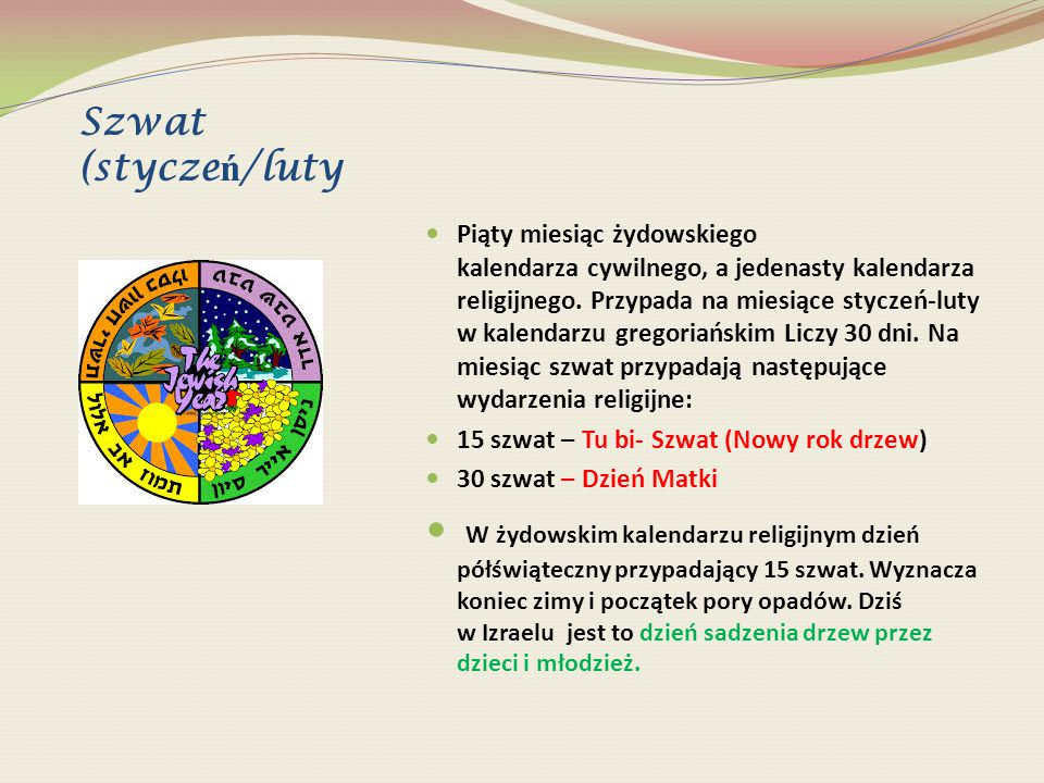 Szwat (stycze ń /luty Piąty miesiąc żydowskiego kalendarza cywilnego, a jedenasty kalendarza religijnego. Przypada na miesiące styczeń-luty w kalendar