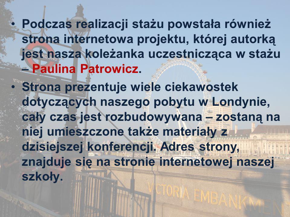 Podczas realizacji stażu powstała również strona internetowa projektu, której autorką jest nasza koleżanka uczestnicząca w stażu – Paulina Patrowicz.