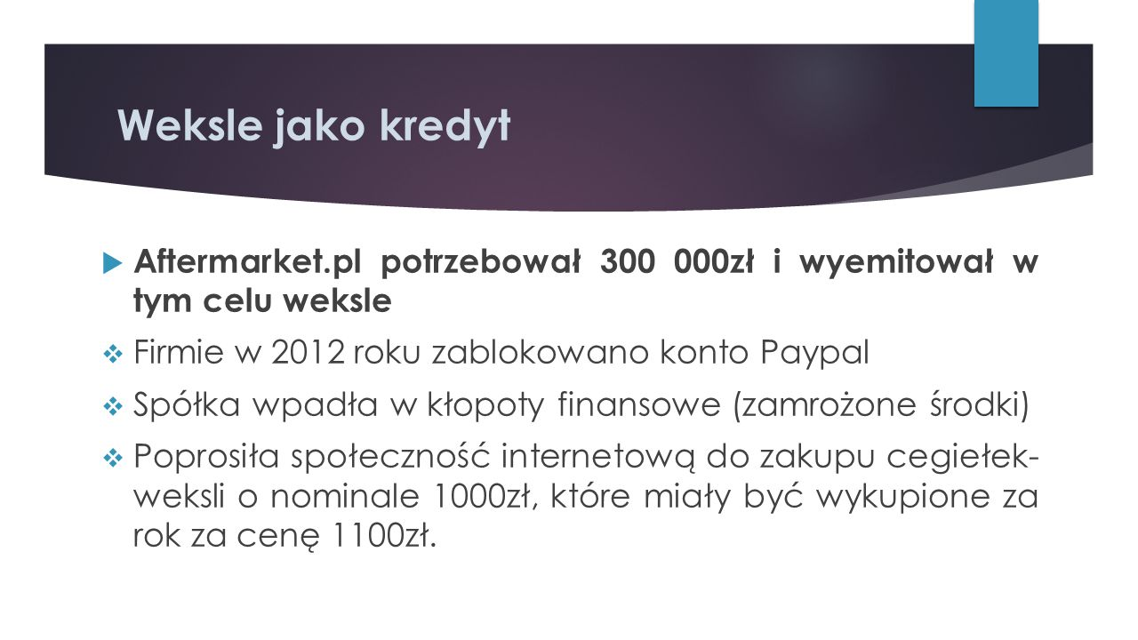 Weksle jako kredyt  Aftermarket.pl potrzebował 300 000zł i wyemitował w tym celu weksle  Firmie w 2012 roku zablokowano konto Paypal  Spółka wpadła