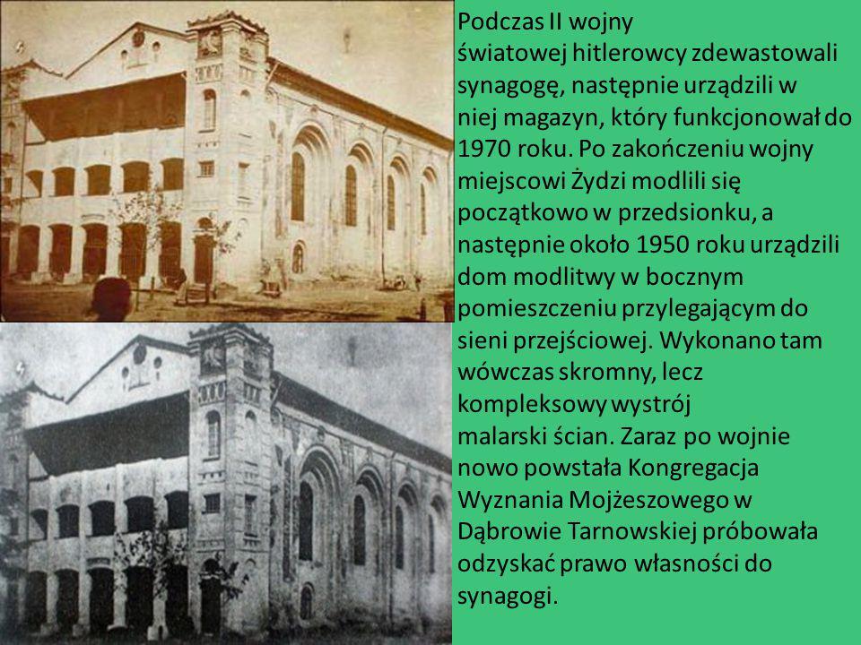 Podczas II wojny światowej hitlerowcy zdewastowali synagogę, następnie urządzili w niej magazyn, który funkcjonował do 1970 roku. Po zakończeniu wojny