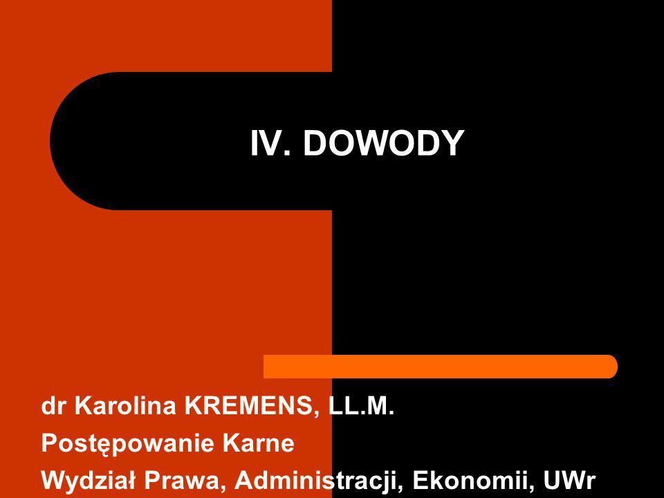 IV. DOWODY dr Karolina KREMENS, LL.M. Postępowanie Karne Wydział Prawa, Administracji, Ekonomii, UWr