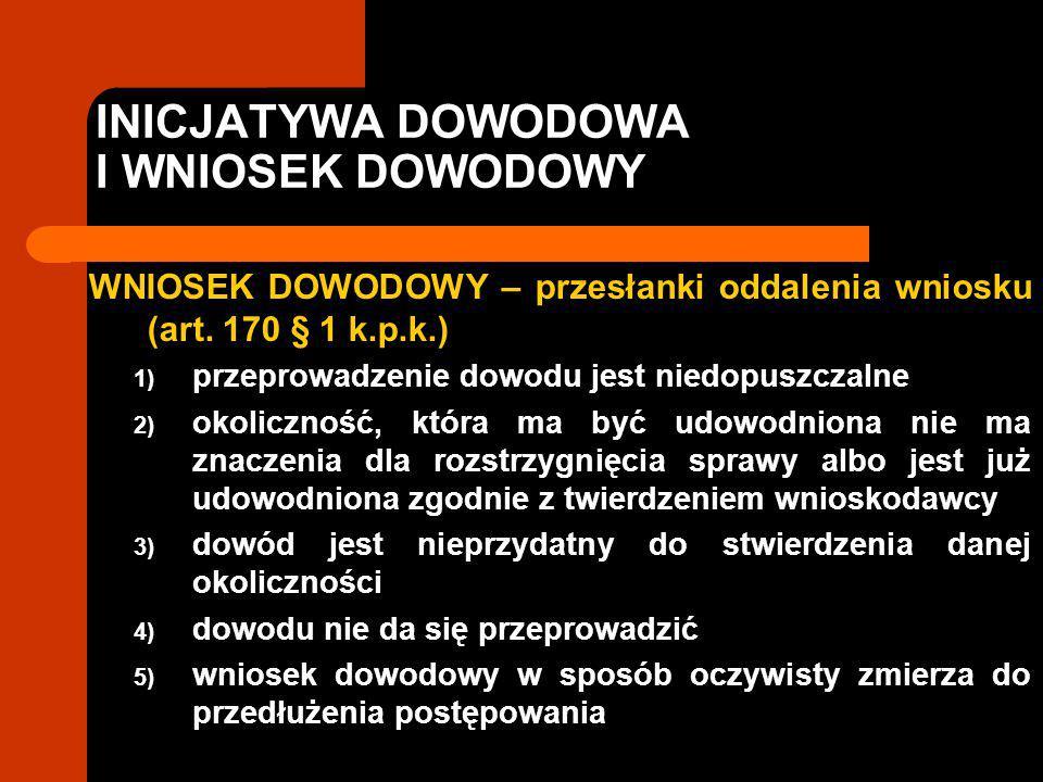INICJATYWA DOWODOWA I WNIOSEK DOWODOWY WNIOSEK DOWODOWY – przesłanki oddalenia wniosku (art. 170 § 1 k.p.k.) 1) przeprowadzenie dowodu jest niedopuszc
