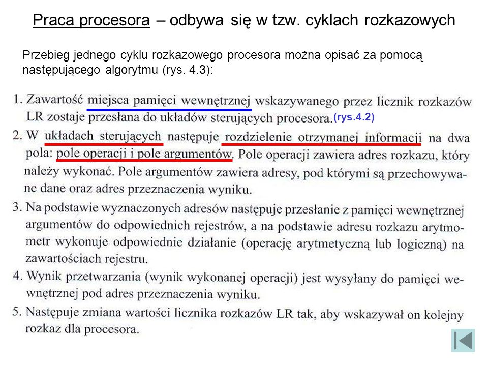 Praca procesora – odbywa się w tzw. cyklach rozkazowych Przebieg jednego cyklu rozkazowego procesora można opisać za pomocą następującego algorytmu (r