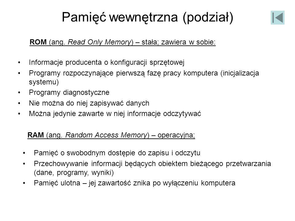 Pamięć wewnętrzna (podział) Informacje producenta o konfiguracji sprzętowej Programy rozpoczynające pierwszą fazę pracy komputera (inicjalizacja syste