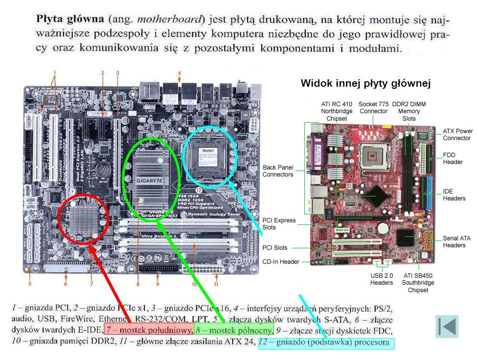 Wygląd rzeczywisty płyty głównej i interfejsów Interfejs równoległy Interfejs szeregowy Rzadziej stosowane interfejsy (klawiatura, mysz, głośniki, mon