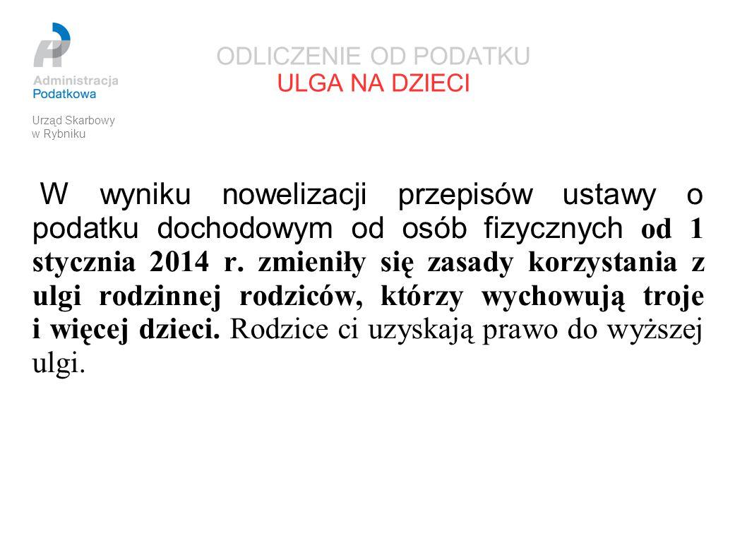 ODLICZENIE OD PODATKU ULGA NA DZIECI W wyniku nowelizacji przepisów ustawy o podatku dochodowym od osób fizycznych od 1 stycznia 2014 r. zmieniły się