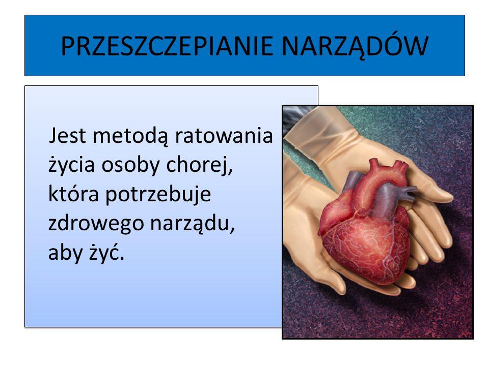 PRZESZCZEPIANIE NARZĄDÓW Jest metodą ratowania życia osoby chorej, która potrzebuje zdrowego narządu, aby żyć.