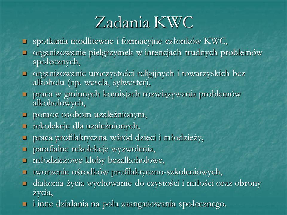 Zadania KWC spotkania modlitewne i formacyjne członków KWC, spotkania modlitewne i formacyjne członków KWC, organizowanie pielgrzymek w intencjach trudnych problemów społecznych, organizowanie pielgrzymek w intencjach trudnych problemów społecznych, organizowanie uroczystości religijnych i towarzyskich bez alkoholu (np.
