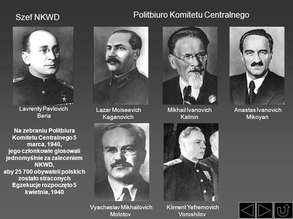 Lavrenty Pavlovich Beria Politbiuro Komitetu Centralnego Lazar Moiseevich Kaganovich Mikhail Ivanovich Kalinin Szef NKWD Anastas Ivanovich Mikoyan Vya