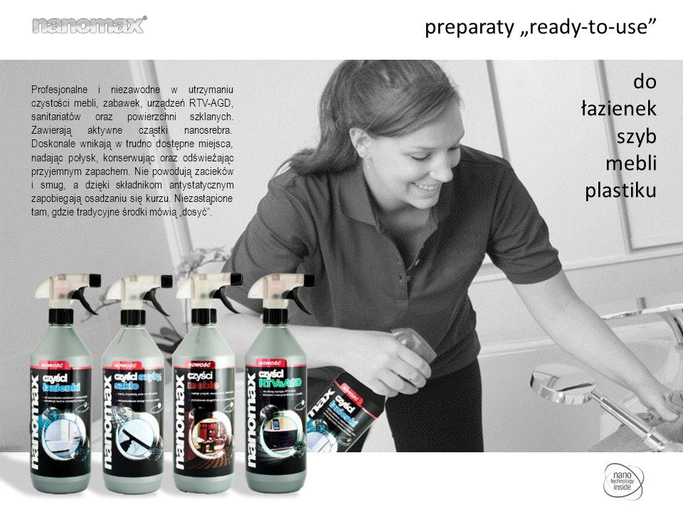"""preparaty """"ready-to-use do łazienek szyb mebli plastiku Profesjonalne i niezawodne w utrzymaniu czystości mebli, zabawek, urządzeń RTV-AGD, sanitariatów oraz powierzchni szklanych."""