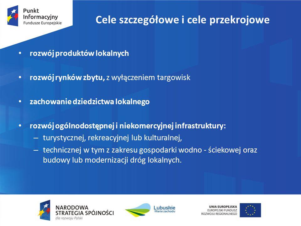 Cele szczegółowe i cele przekrojowe rozwój produktów lokalnych rozwój rynków zbytu, z wyłączeniem targowisk zachowanie dziedzictwa lokalnego rozwój og