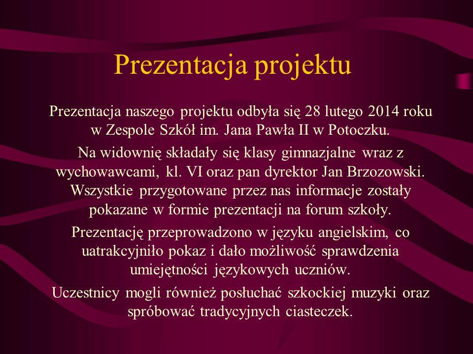 Prezentacja projektu Prezentacja naszego projektu odbyła się 28 lutego 2014 roku w Zespole Szkół im. Jana Pawła II w Potoczku. Na widownię składały si