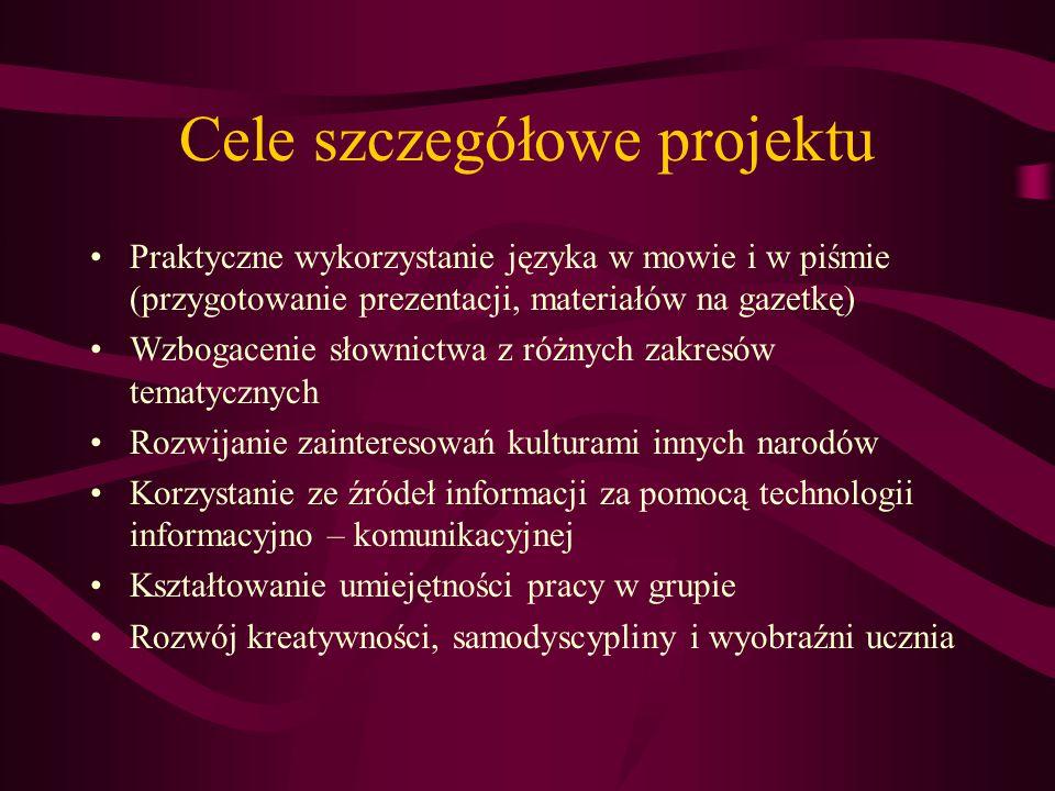 Cele szczegółowe projektu Praktyczne wykorzystanie języka w mowie i w piśmie (przygotowanie prezentacji, materiałów na gazetkę) Wzbogacenie słownictwa