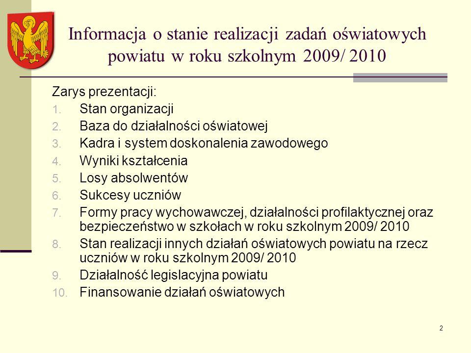 2 Informacja o stanie realizacji zadań oświatowych powiatu w roku szkolnym 2009/ 2010 Zarys prezentacji: 1.