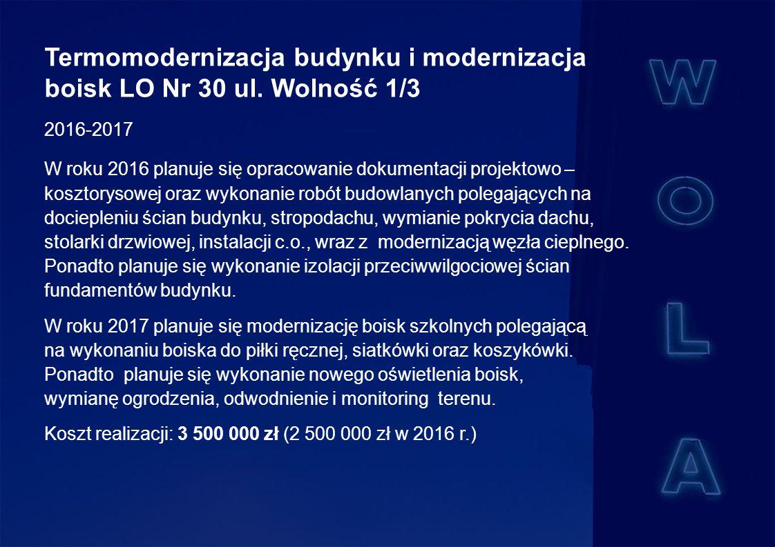 Termomodernizacja budynku i modernizacja boisk LO Nr 30 ul.
