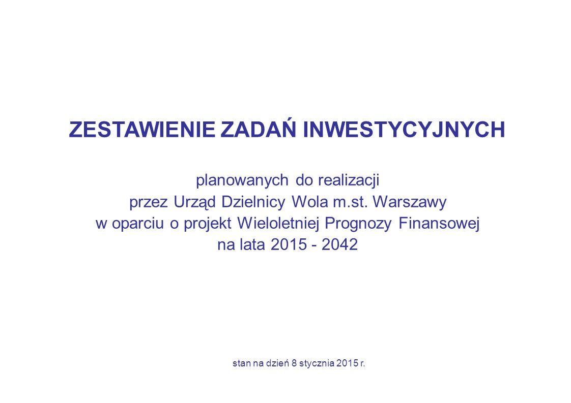 ZESTAWIENIE ZADAŃ INWESTYCYJNYCH planowanych do realizacji przez Urząd Dzielnicy Wola m.st.