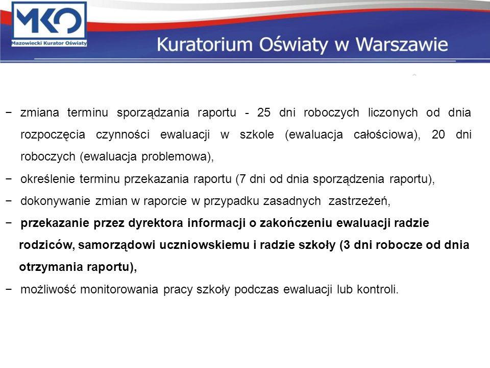 −zmiana terminu sporządzania raportu - 25 dni roboczych liczonych od dnia rozpoczęcia czynności ewaluacji w szkole (ewaluacja całościowa), 20 dni robo