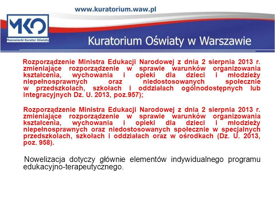 Rozporządzenie Ministra Edukacji Narodowej z dnia 2 sierpnia 2013 r.