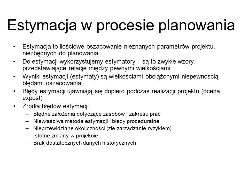 Estymacja to ilościowe oszacowanie nieznanych parametrów projektu, niezbędnych do planowania Do estymacji wykorzystujemy estymatory – są to zwykłe wzo