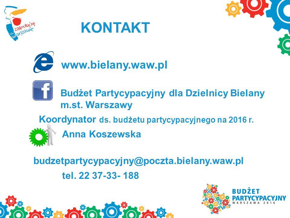 www.bielany.waw.pl Koordynator ds. budżetu partycypacyjnego na 2016 r.