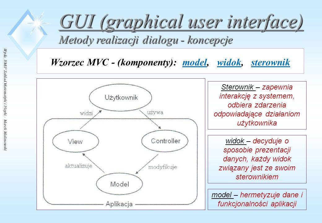 Wydz. BMiP Zakład Matematyki i Fizyki - Marek Malinowski GUI (graphical user interface) Metody realizacji dialogu - koncepcje Wzorzec MVC - (komponent