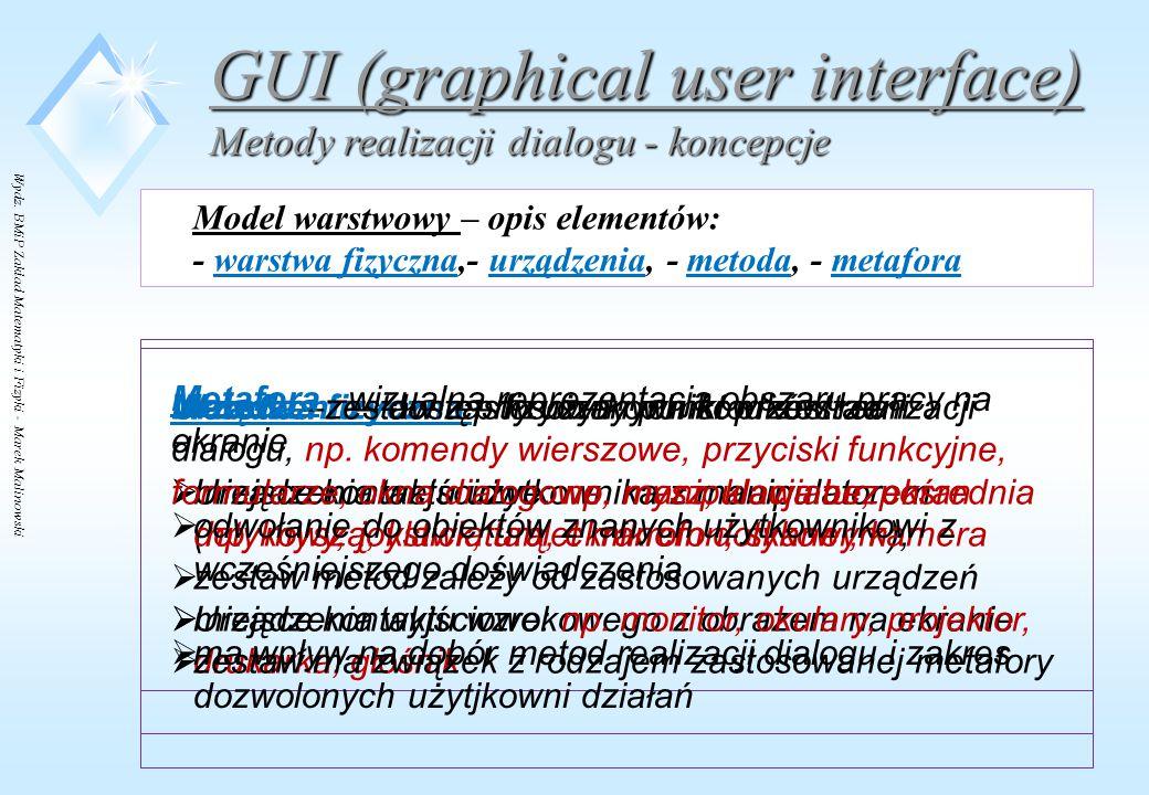 Wydz. BMiP Zakład Matematyki i Fizyki - Marek Malinowski GUI (graphical user interface) Metody realizacji dialogu - koncepcje Model warstwowy – opis e