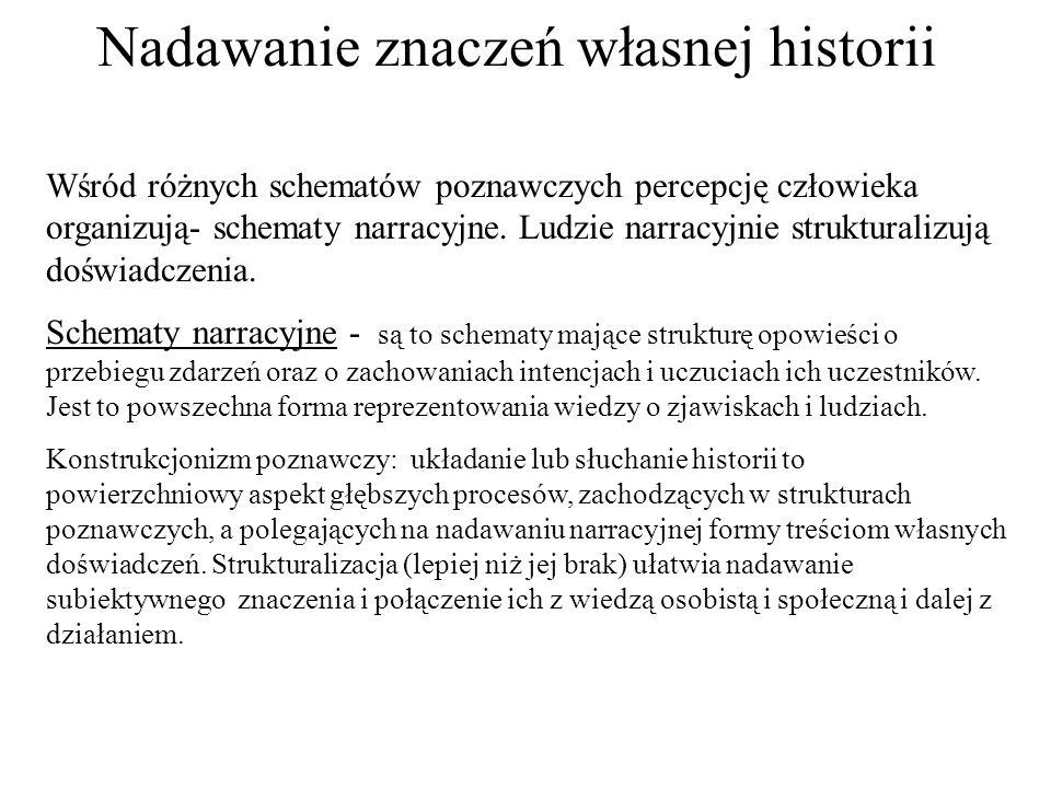 Nadawanie znaczeń własnej historii Wśród różnych schematów poznawczych percepcję człowieka organizują- schematy narracyjne.