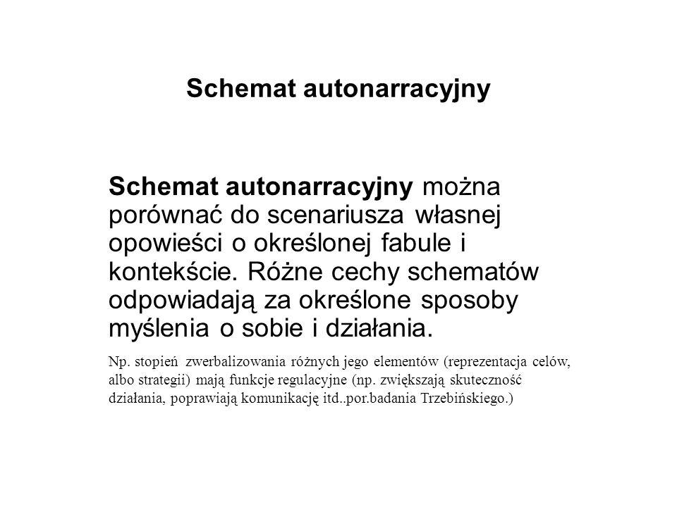Schemat autonarracyjny Schemat autonarracyjny można porównać do scenariusza własnej opowieści o określonej fabule i kontekście.
