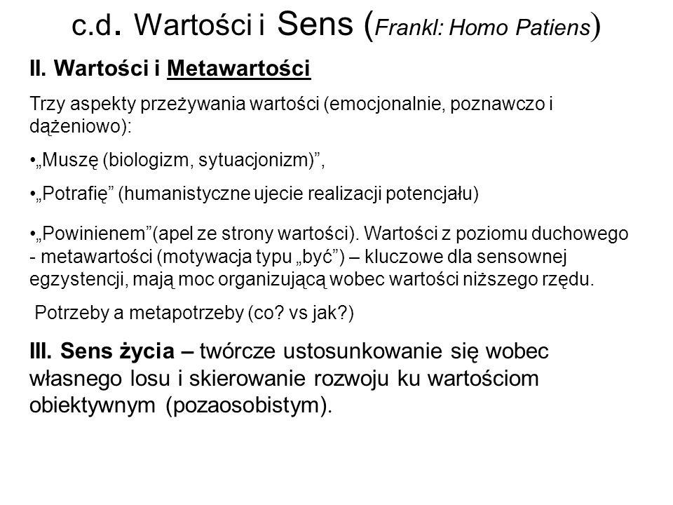 c.d.Wartości i Sens ( Frankl: Homo Patiens ) II.