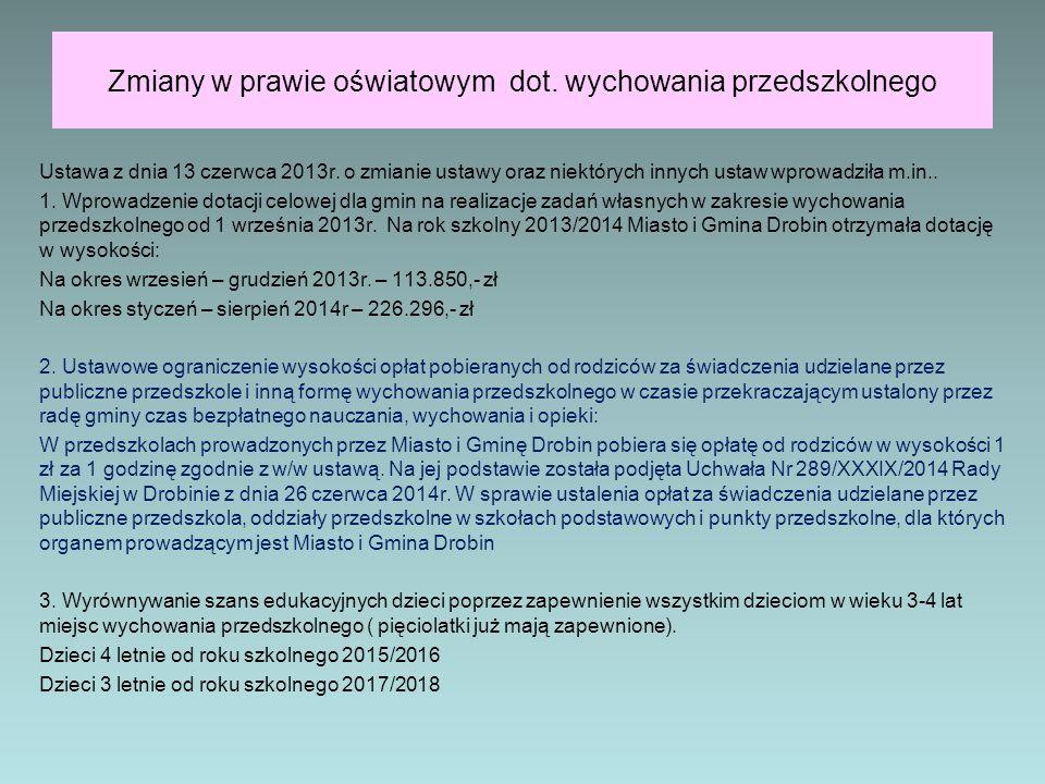 Zmiany w prawie oświatowym dot. wychowania przedszkolnego Ustawa z dnia 13 czerwca 2013r. o zmianie ustawy oraz niektórych innych ustaw wprowadziła m.