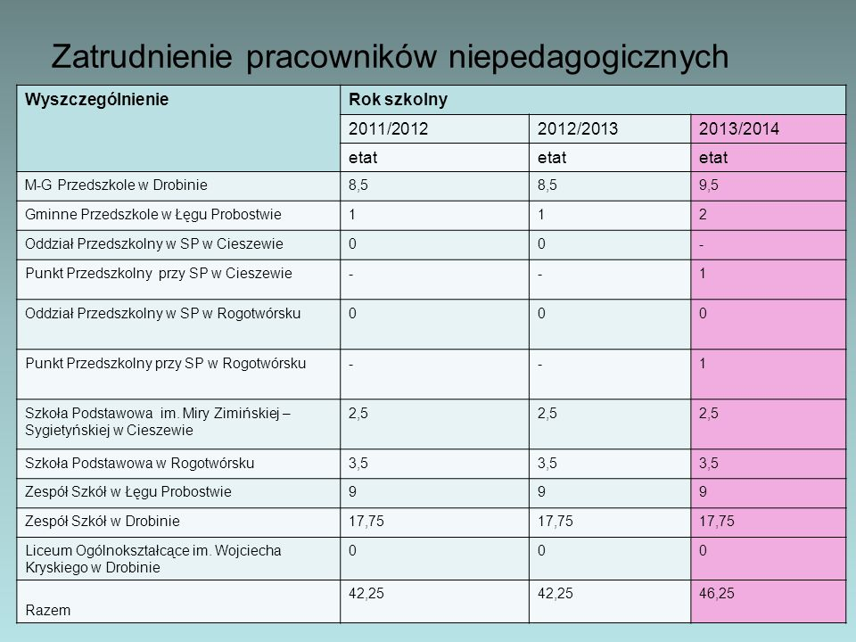 Zatrudnienie pracowników niepedagogicznych WyszczególnienieRok szkolny 2011/20122012/20132013/2014 etat M-G Przedszkole w Drobinie8,5 9,5 Gminne Przed