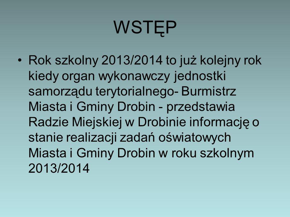 WSTĘP Rok szkolny 2013/2014 to już kolejny rok kiedy organ wykonawczy jednostki samorządu terytorialnego- Burmistrz Miasta i Gminy Drobin - przedstawi