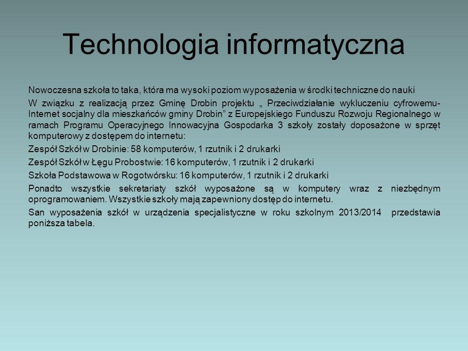 Technologia informatyczna Nowoczesna szkoła to taka, która ma wysoki poziom wyposażenia w środki techniczne do nauki W związku z realizacją przez Gmin