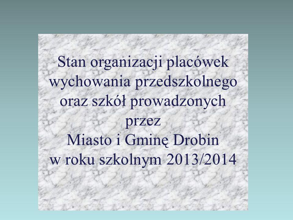 Stan organizacji placówek wychowania przedszkolnego oraz szkół prowadzonych przez Miasto i Gminę Drobin w roku szkolnym 2013/2014
