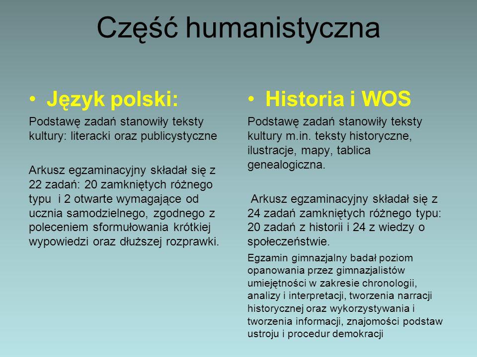 Część humanistyczna Język polski: Podstawę zadań stanowiły teksty kultury: literacki oraz publicystyczne Arkusz egzaminacyjny składał się z 22 zadań: