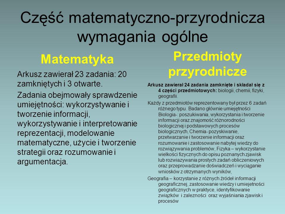 Część matematyczno-przyrodnicza wymagania ogólne Matematyka Arkusz zawierał 23 zadania: 20 zamkniętych i 3 otwarte.