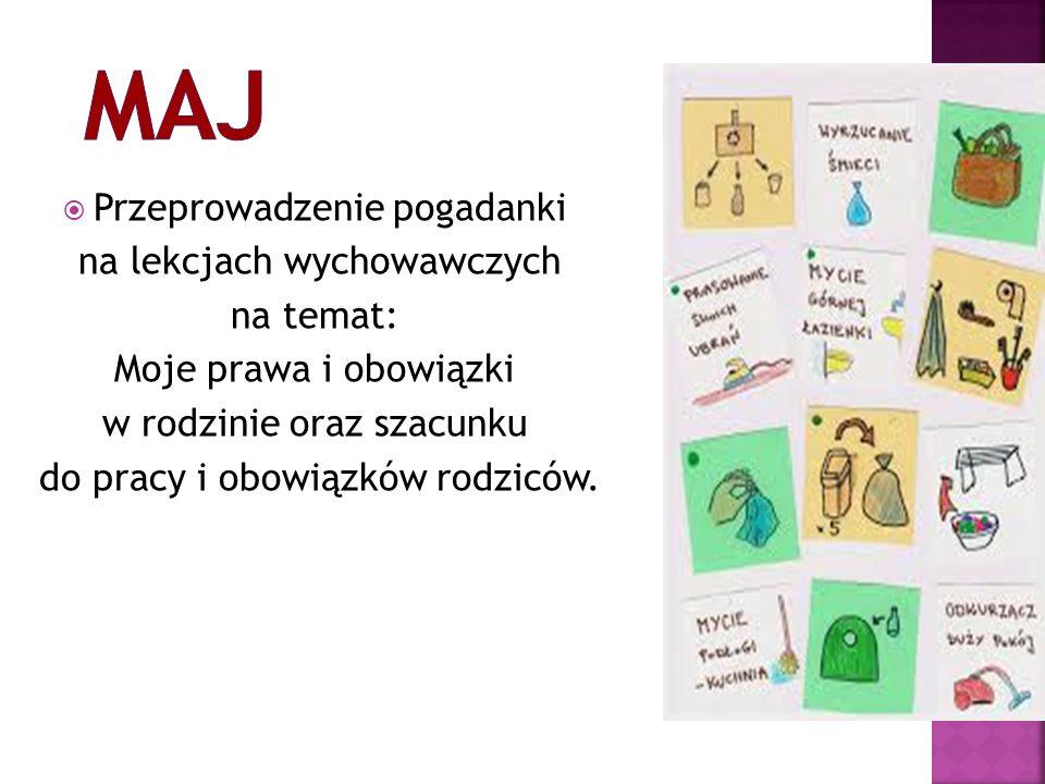  Przeprowadzenie pogadanki na lekcjach wychowawczych na temat: Moje prawa i obowiązki w rodzinie oraz szacunku do pracy i obowiązków rodziców.