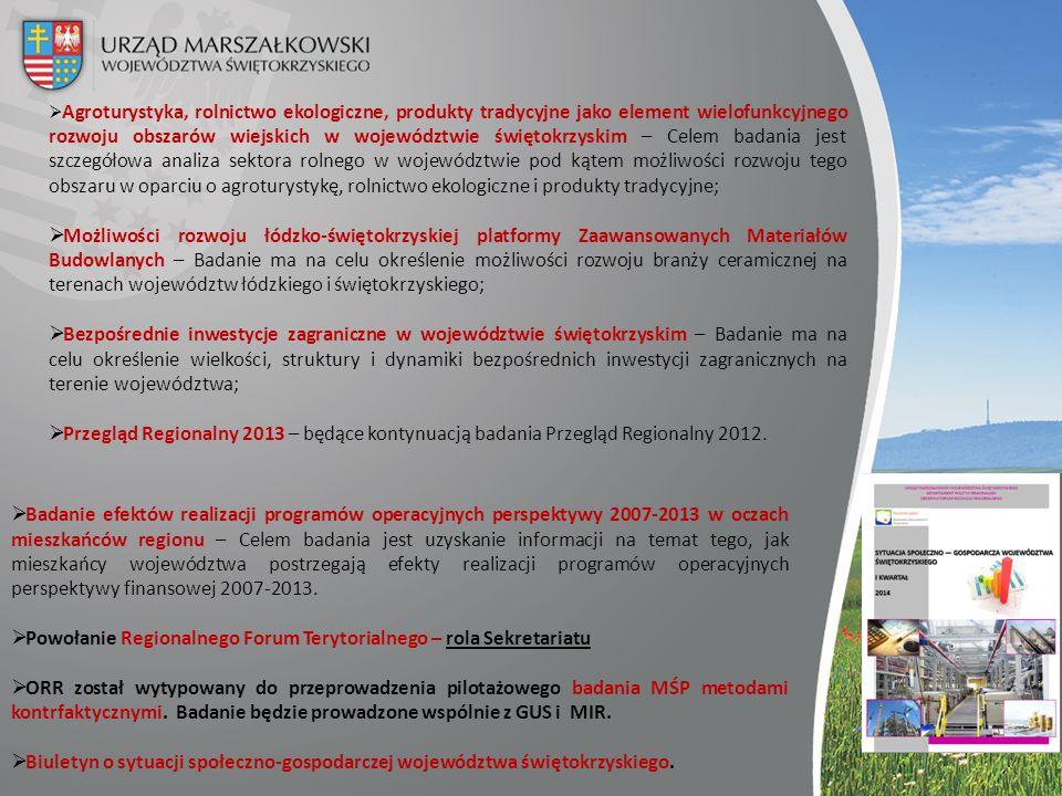  Badanie efektów realizacji programów operacyjnych perspektywy 2007-2013 w oczach mieszkańców regionu – Celem badania jest uzyskanie informacji na te
