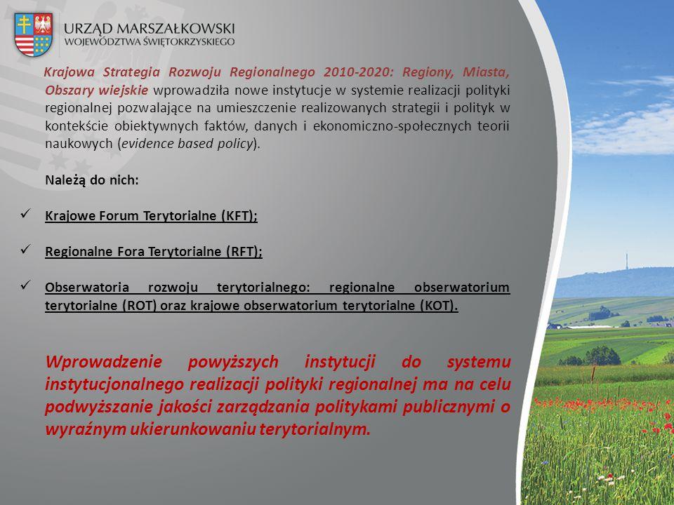 Krajowa Strategia Rozwoju Regionalnego 2010-2020: Regiony, Miasta, Obszary wiejskie wprowadziła nowe instytucje w systemie realizacji polityki regiona