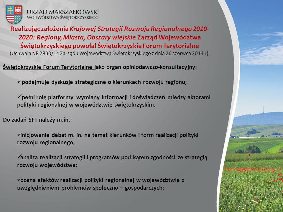 Realizując założenia Krajowej Strategii Rozwoju Regionalnego 2010- 2020: Regiony, Miasta, Obszary wiejskie Zarząd Województwa Świętokrzyskiego powołał