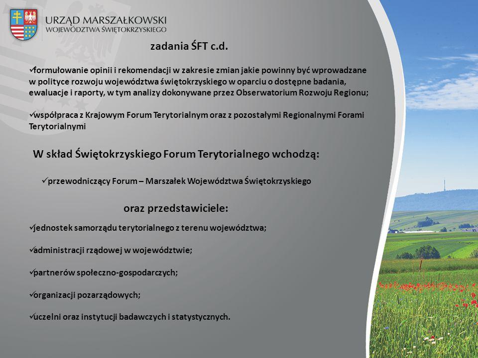 W skład Świętokrzyskiego Forum Terytorialnego wchodzą: przewodniczący Forum – Marszałek Województwa Świętokrzyskiego oraz przedstawiciele: jednostek s